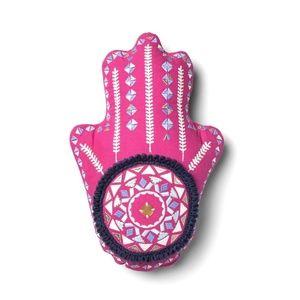 Opalhouse BOHO  Pink Hand Shape Embroidered Pillow